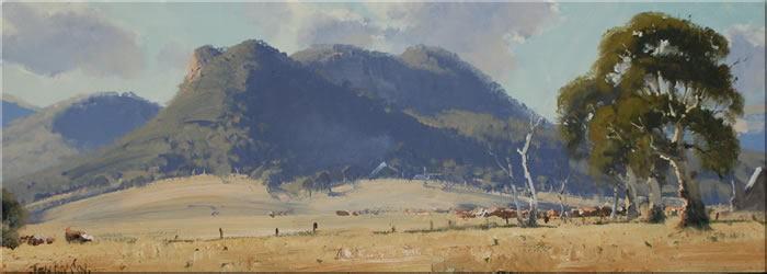 john wilson australian landscape oil paintings  blue